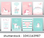 set of birthday cards poster... | Shutterstock .eps vector #1041163987