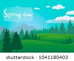 beautiful scenery with forest...   Shutterstock .eps vector #1041180403