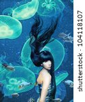 beautiful mermaid  magic underwater ( photo compilation ) - stock photo
