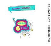 halftone summer sticker  badge... | Shutterstock . vector #1041195493