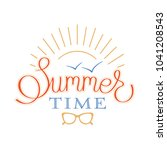 colorful lettering summer time... | Shutterstock .eps vector #1041208543