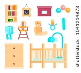 flat icons set baby room... | Shutterstock . vector #1041214873