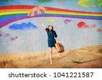 brunet girl fly away with... | Shutterstock . vector #1041221587