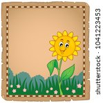 parchment with happy flower 1   ... | Shutterstock .eps vector #1041223453