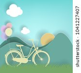 bicycle  balloon  sun and... | Shutterstock .eps vector #1041227407