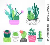 set of cactuses and succulents... | Shutterstock .eps vector #1041229027