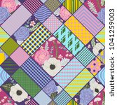 seamless patchwork pattern with ... | Shutterstock .eps vector #1041259003