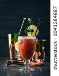 alcoholic cocktail bloody mary. ... | Shutterstock . vector #1041284887