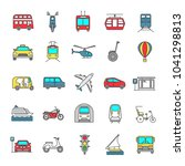 public transport color icons... | Shutterstock .eps vector #1041298813