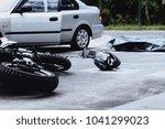 car and motorbike crash site... | Shutterstock . vector #1041299023