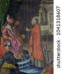Small photo of VELIKA MLAKA, CROATIA - MARCH 28: Christ before Pontius Pilate, altarpiece in the Church of the Saint Barbara in Velika Mlaka, Croatia on March 28, 2017.