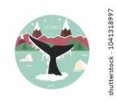 alaska landscape with forest... | Shutterstock .eps vector #1041318997