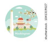 welcome towashington poster....   Shutterstock .eps vector #1041319027
