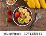 acai berry bowl up view | Shutterstock . vector #1041333553