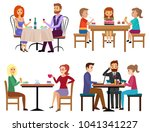 eating people set. couple... | Shutterstock . vector #1041341227
