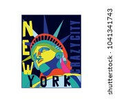 statue of liberty colorful... | Shutterstock .eps vector #1041341743