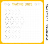 tracing lines. worksheet for... | Shutterstock .eps vector #1041364987