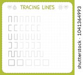 tracing lines. worksheet for... | Shutterstock .eps vector #1041364993