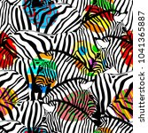zebra seamless pattern with... | Shutterstock .eps vector #1041365887