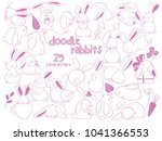 Stock vector hand drawn outline vector illustrations of cute rabbits funny bunny characters doodle sketch style 1041366553
