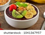 frozen acai berry bowl with... | Shutterstock . vector #1041367957
