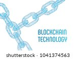 block chain. crypto currency.... | Shutterstock .eps vector #1041374563