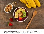acai berry bowl with sliced... | Shutterstock . vector #1041387973