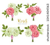 set collection flowers roses on ... | Shutterstock .eps vector #1041404563