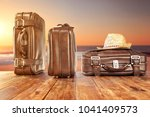 suitcase of travel time and... | Shutterstock . vector #1041409573