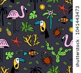seamless pattern with summer... | Shutterstock .eps vector #1041443473