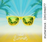 summer poster with sunglasses... | Shutterstock .eps vector #1041446077