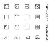 line icon set of laundry label...