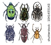 big set of insects  bugs ... | Shutterstock . vector #1041455143