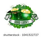 patrick day card with ribbon ... | Shutterstock .eps vector #1041522727