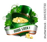patrick day card with ribbon ... | Shutterstock .eps vector #1041522733