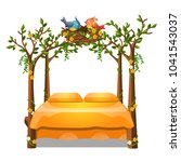 cute orange color bed with... | Shutterstock .eps vector #1041543037