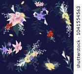 flowers set isolated on blue... | Shutterstock .eps vector #1041554563