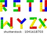 alphabet with plastic blocks | Shutterstock .eps vector #1041618703