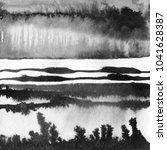 Small photo of Ink hand drawn illustration with abstract landscape. Black and white ink winter landscape with river. Minimalistic hand drawn illustration for card, background, poster. Hand drawn watercolor lines.