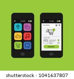 smartphone with shopping... | Shutterstock .eps vector #1041637807