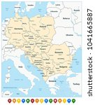 central europe political map... | Shutterstock .eps vector #1041665887