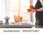 asian beautiful girl shopping...   Shutterstock . vector #1041671467