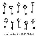 old antique keys in vintage... | Shutterstock .eps vector #104168147