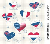 Flags in heart shapes and symbols of the countries - stock vector