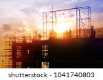 silhouettes construction site | Shutterstock . vector #1041740803