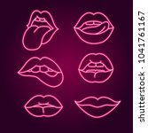 set lips neon sign  set fashion ... | Shutterstock .eps vector #1041761167