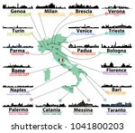 italy map with largest italian... | Shutterstock .eps vector #1041800203