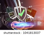 view of a shield symbol... | Shutterstock . vector #1041813037