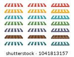 a set of striped awnings ... | Shutterstock .eps vector #1041813157