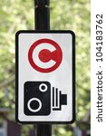 Congestion charge with camera zone sign - stock photo